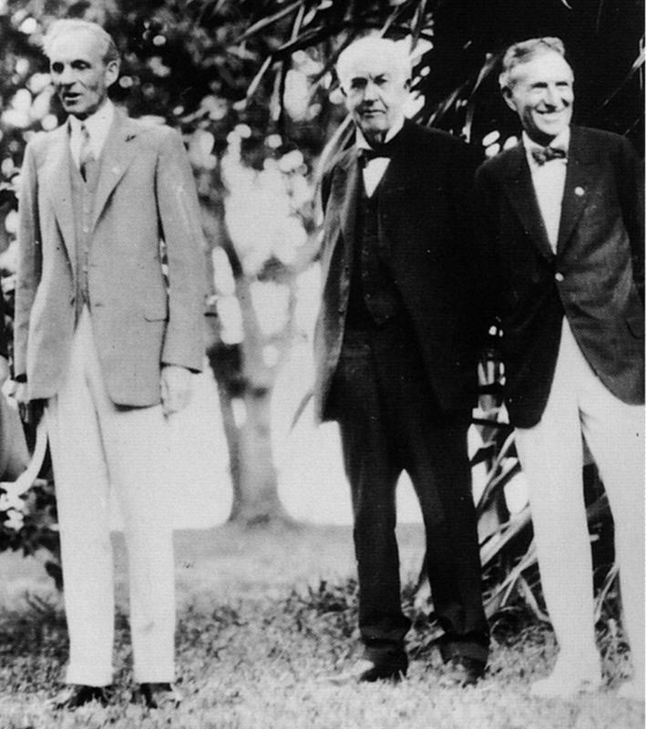 Henry Ford, Thomas Edison, and Harvey Firestone in February 1929.
